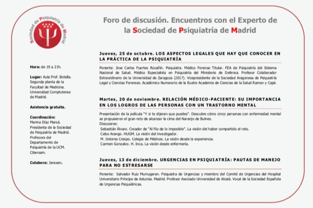 Encuentros con el Experto de la Sociedad de Psiquiatría de Madrid